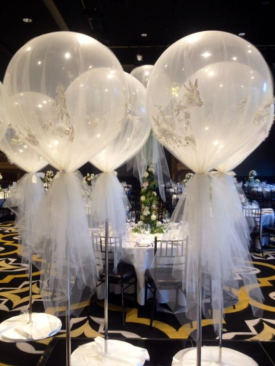24 fun and creative balloon wedding decoration ideas wedding deco ideas part 1 magical ballon clouds giant 3ft balloon wrapped in tulle junglespirit Choice Image