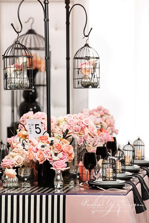 gorgeous black birdcage wedding centerpieces