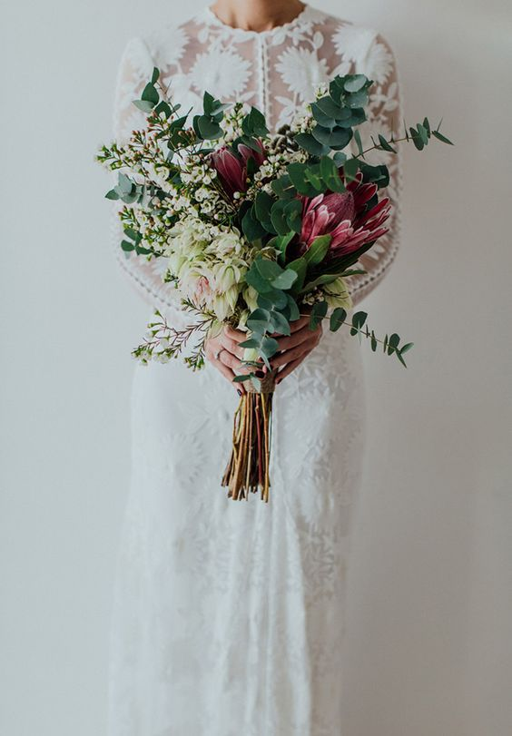 gorgeous king protea winter wedding bouquet
