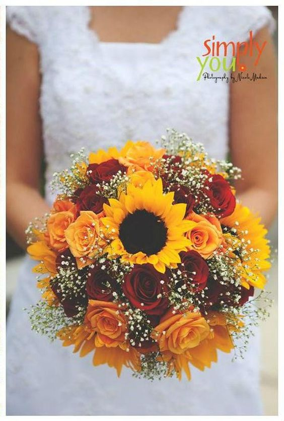 gorgeous sunflower and baby's breath fall wedding bouquets