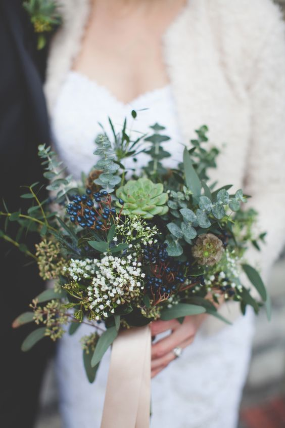 green and blue succlent winter bouquets