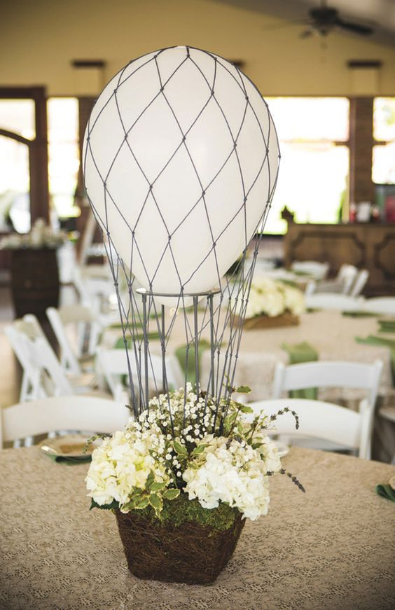 love this sweet little hot air balloon wedding centerpiece