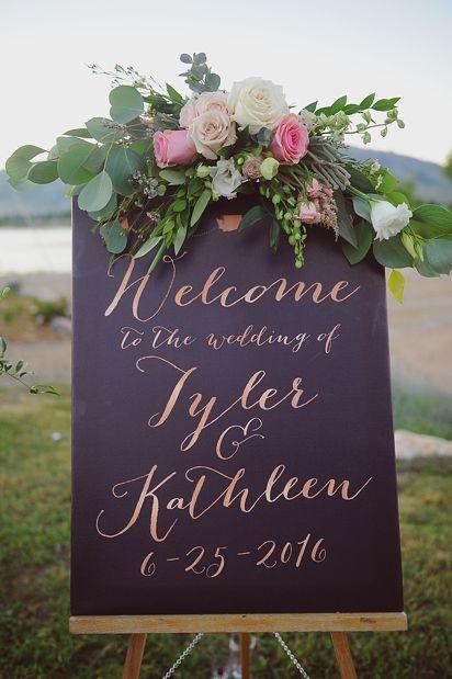 modern chic outdoor wedding sign