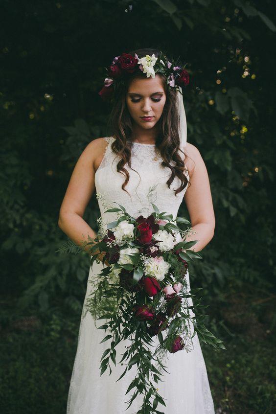 organic buegundy fall wedding bouquet