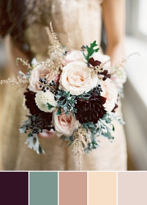 plum and nude winter wedding bouquets