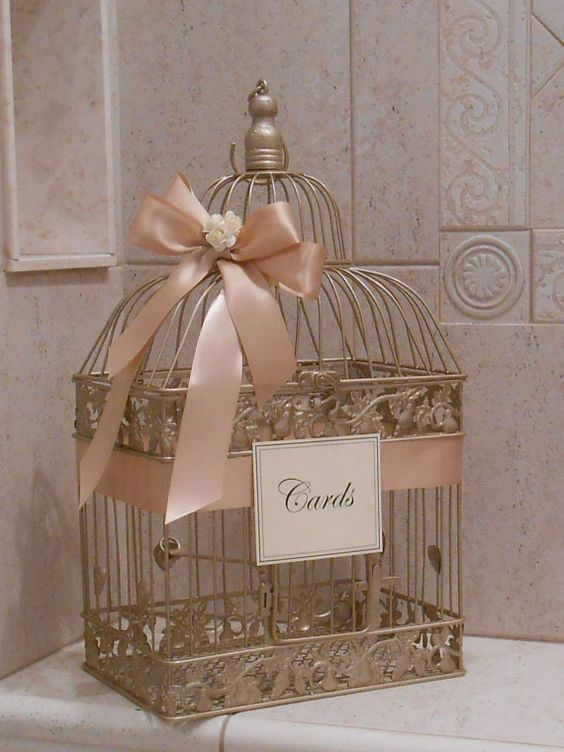 romantic champagne birdcage wedding decorations