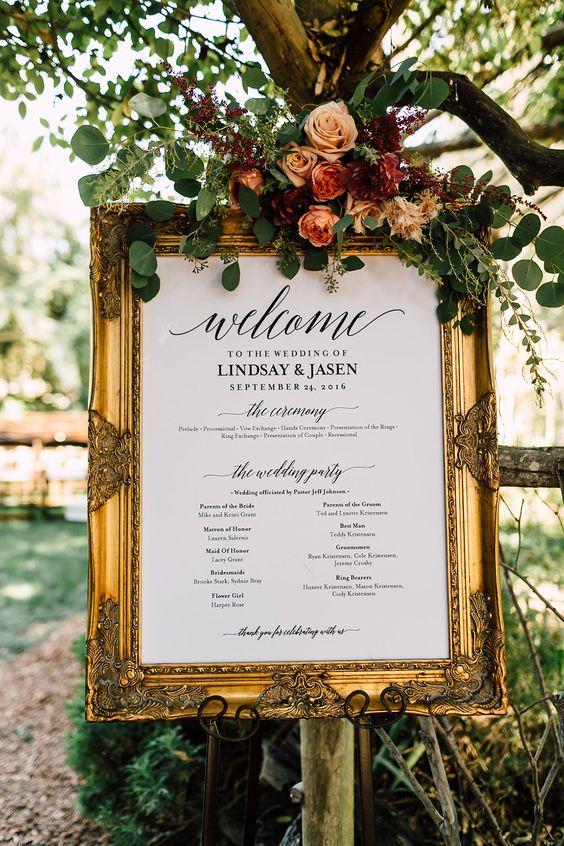 romantic garden wedding sign