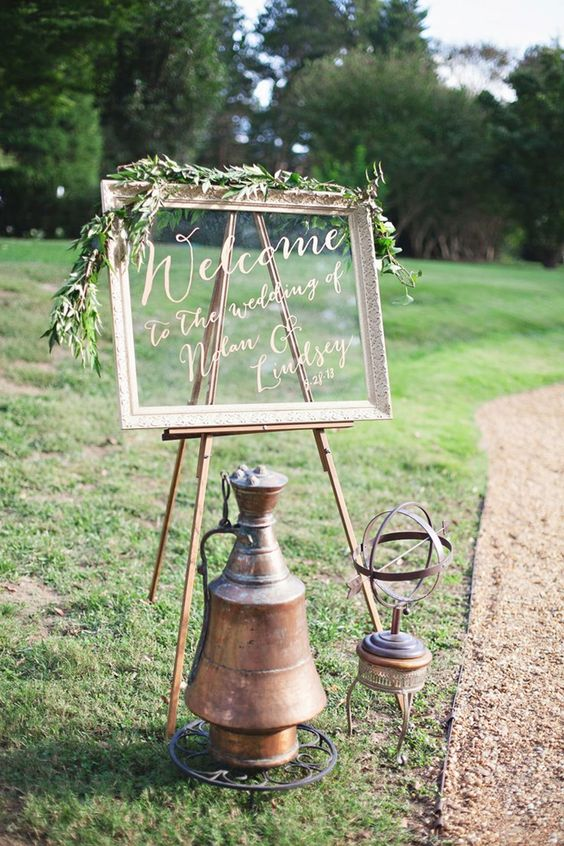 shabby chic mirror wedding welcome sign