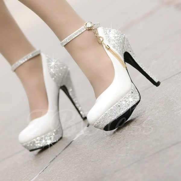 Silver Beaded Wedding Shoes Shiny Black And White