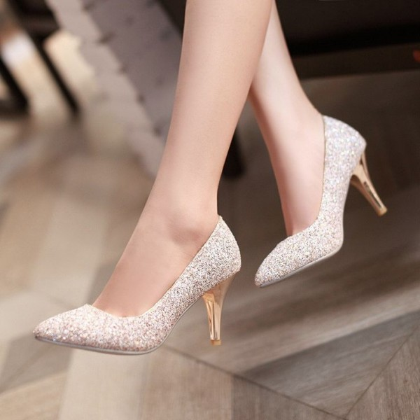 simple rose gold bridal shoes