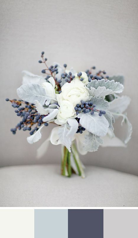 simple white winter wedding bouquet