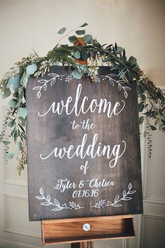 simple winter wedding welcome sign