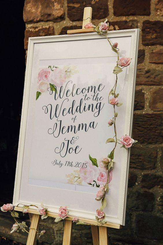 stylish and elegent wedding welcome sign