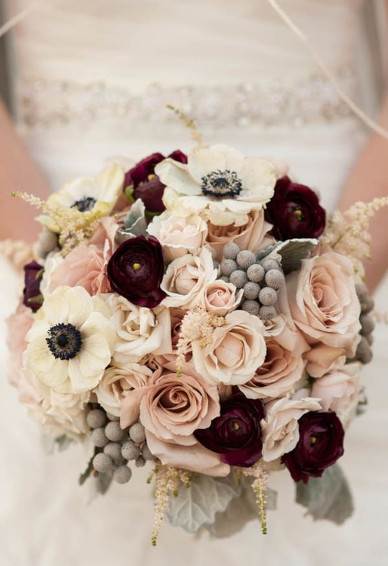 sweet rose gold winter wedding bouquet