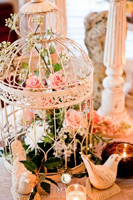 sweet rustic birdcage wedding decoration ideas