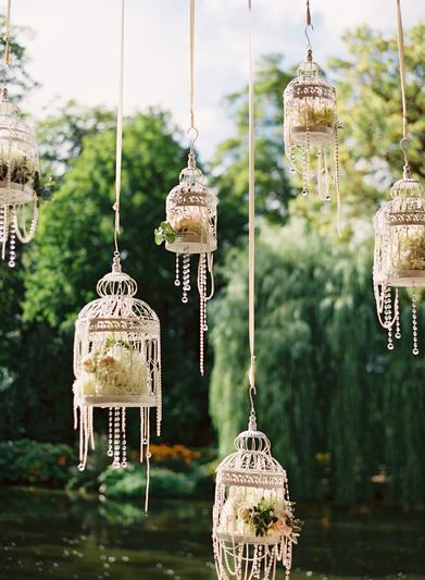 vintage hanging birdcage wedding decorations