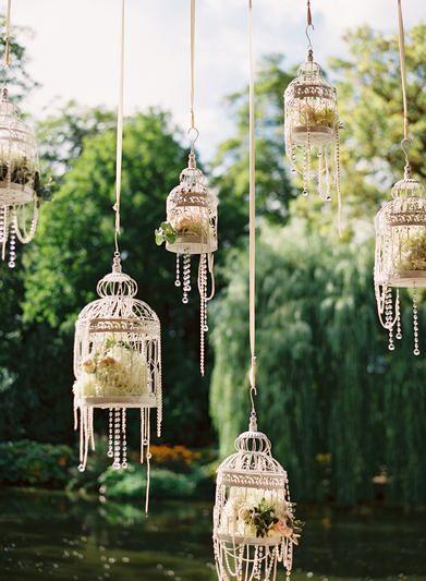 vintage hanging birdcage wedding decorations