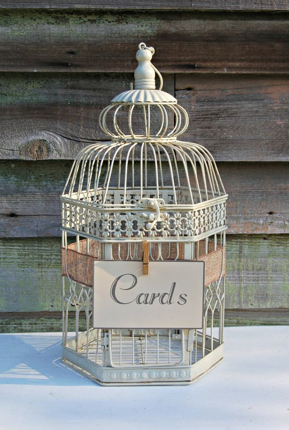 vintage ivory birdcage wedding card holder