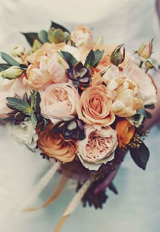 warm pink flower bouquets for october weddings