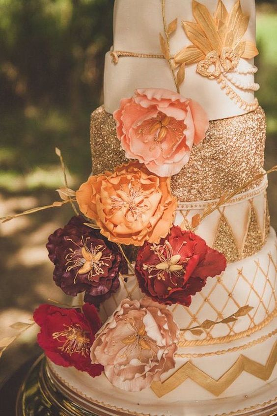 adorable fall wedding cake