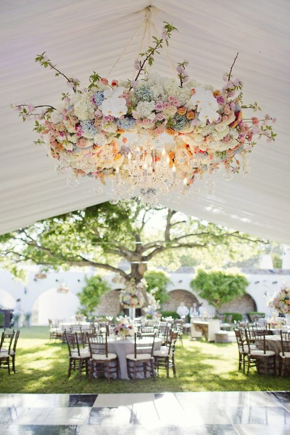 beautiful wedding floral chandelier with pastel shades