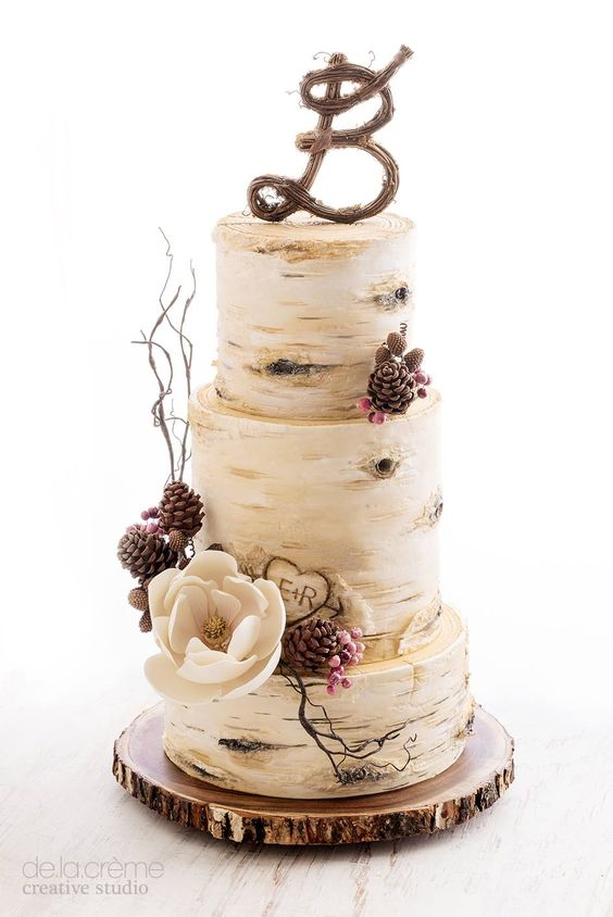 birch tree fall wedding cake idea