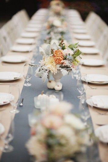blue winter wedding table setting idea