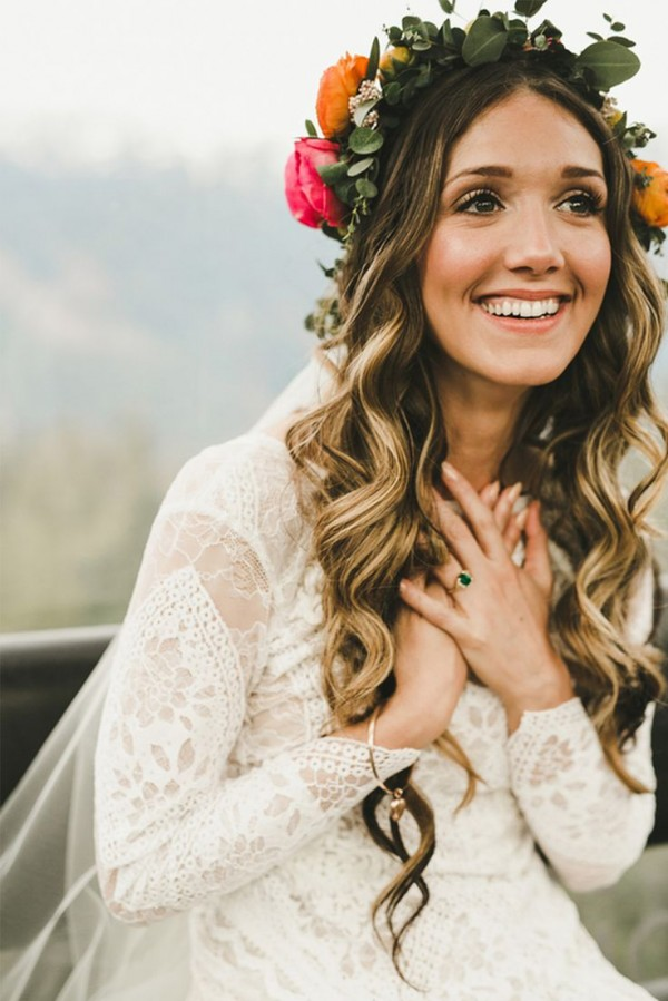 boho wedding hairstyle with lovely curls