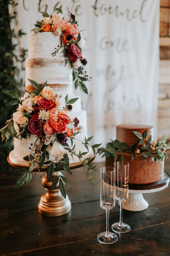 bold semi-naked metallic wedding cake