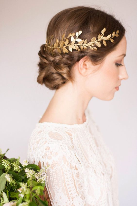 braided bridal hairstyle with awesome headpiece