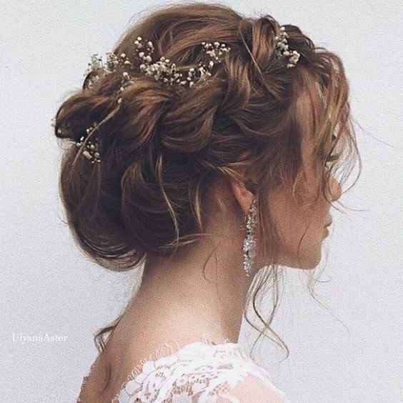 braided updo hairstyle for boho wedding