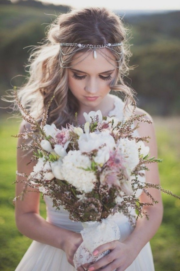 bridal hairstyle with unique hedpiece