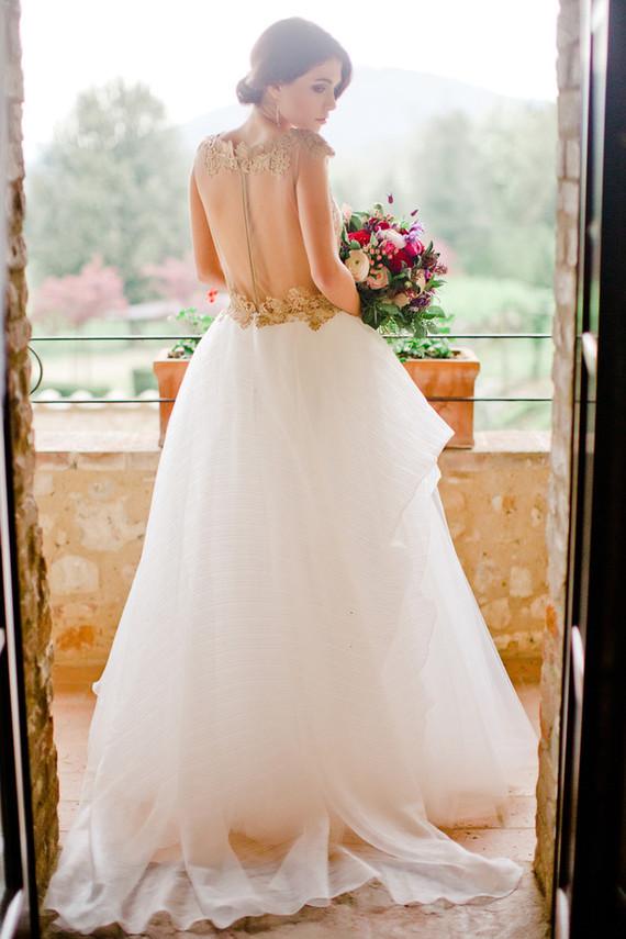 charming wedding bride on a countryside wedding in tuscany