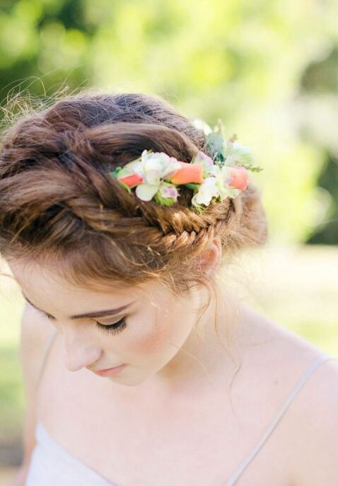 chic bridal hairstyles with floral decor