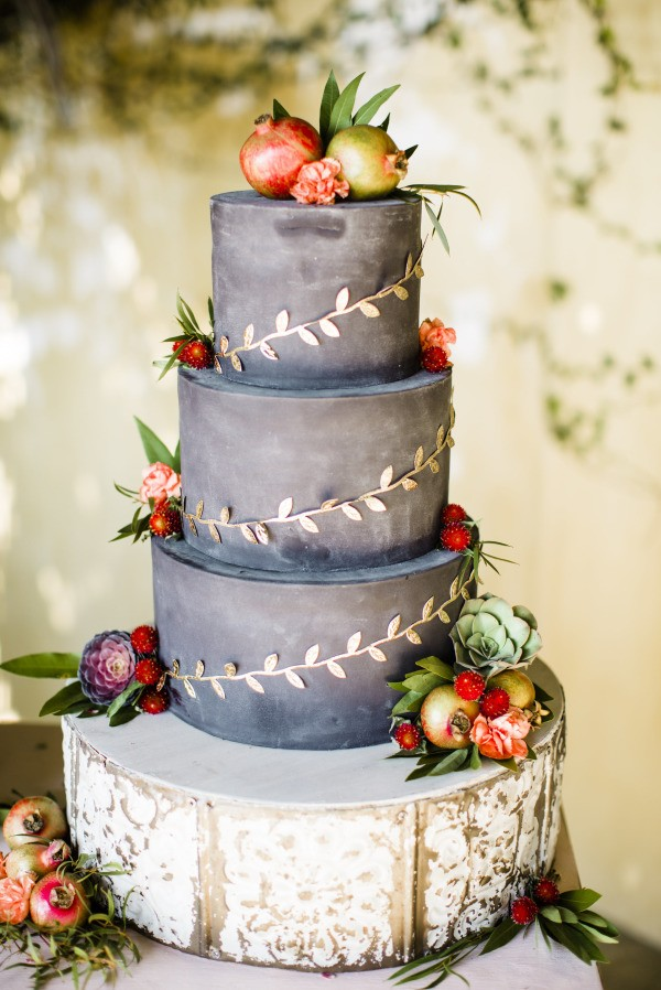 chic grey fall wedding cake with gold decor