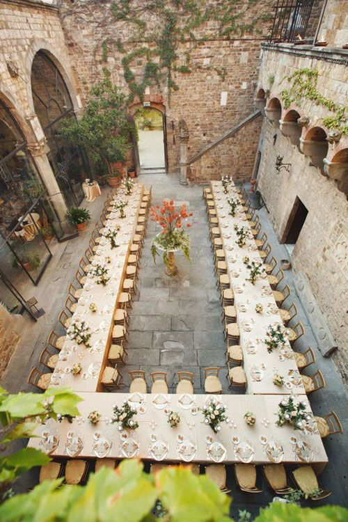 classic long table tuscan wedding decor