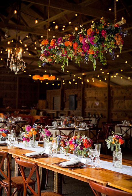 colorful floral chandelier with roses and dahlias