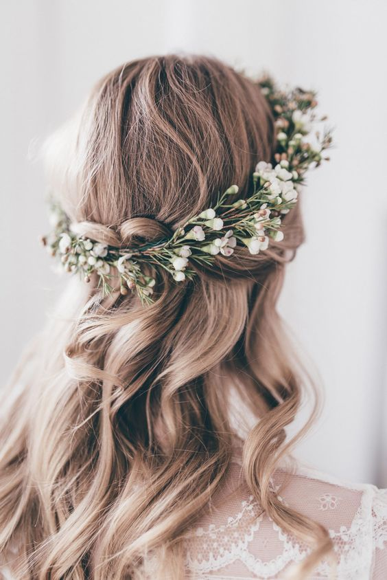elegant boho hairstyle with greenery crown