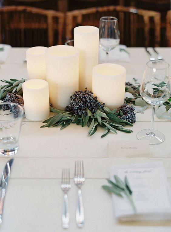 elegant candle table setting for wedding