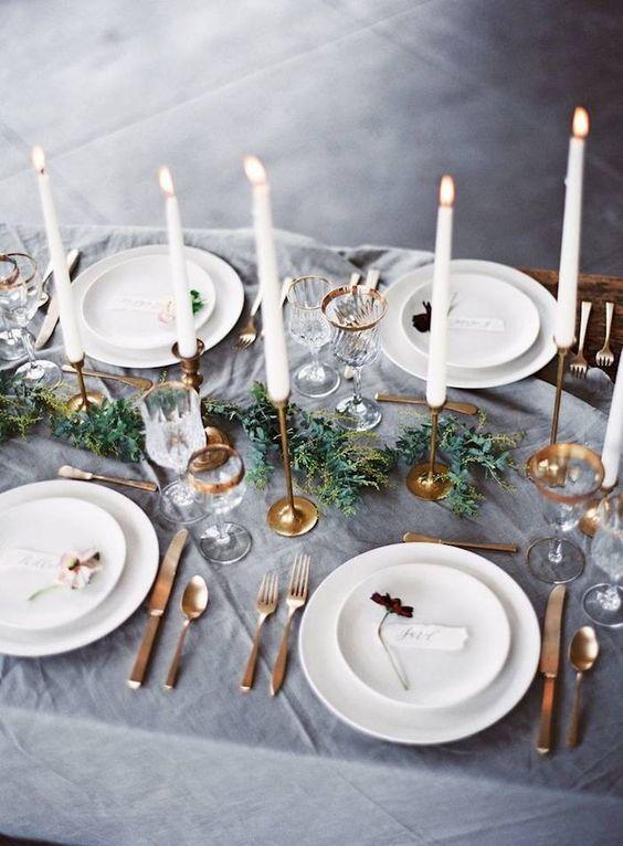 elegant insustrial winter wedding decor