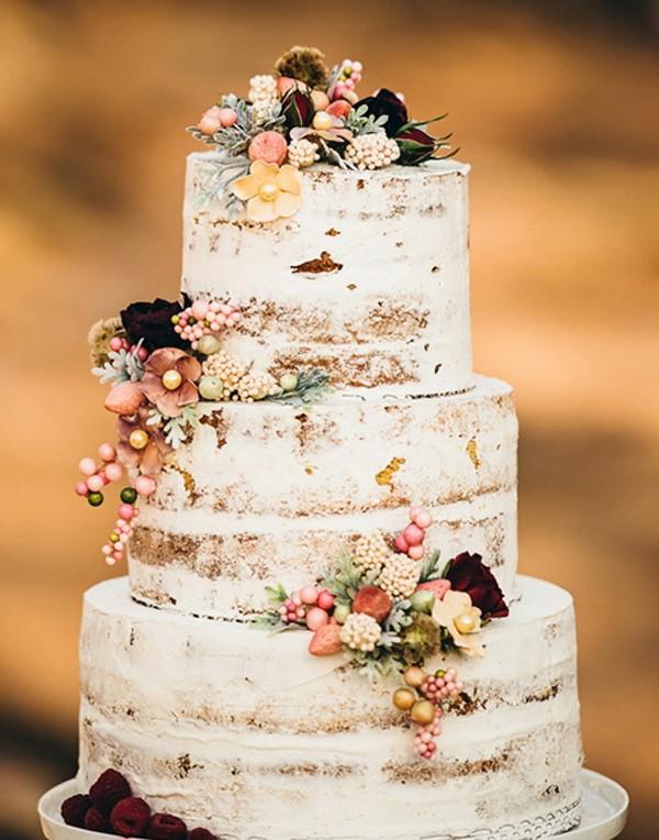 floral birch fall wedding cake