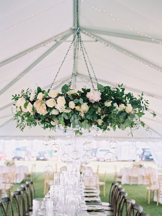 floral chandelier for tent-themed wedding