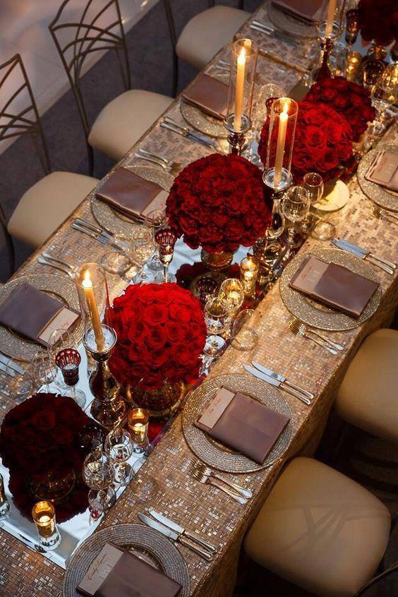 glamourous gold and burgundy wedding decoration