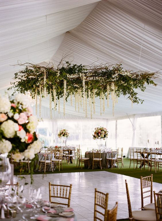 greenery and branch wedding floral chandelier