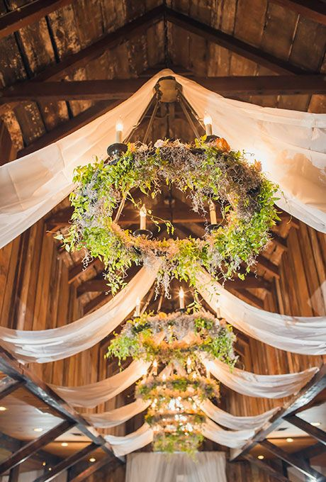 greenery chandeliers for wedding reception