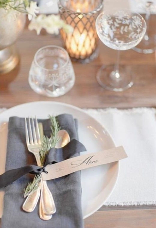 grey table setting for rustic winter wedding