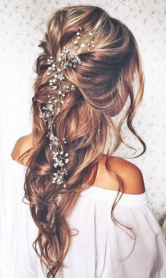 half up half down hairstyles for boho wedding