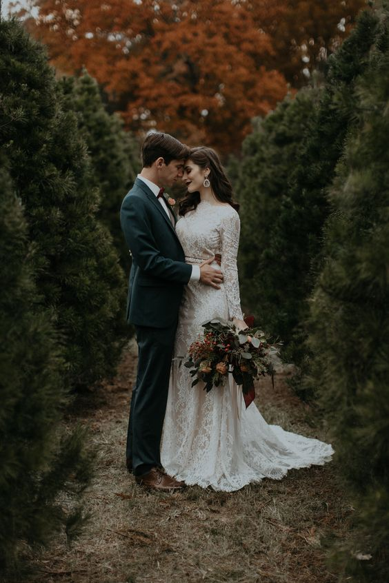 hopelessly romantic elopement on a Chirstmas tree farm