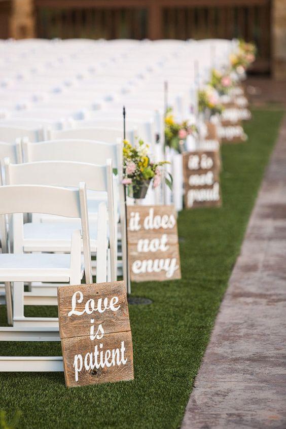 lovely chalkboard wedding aisle decoration