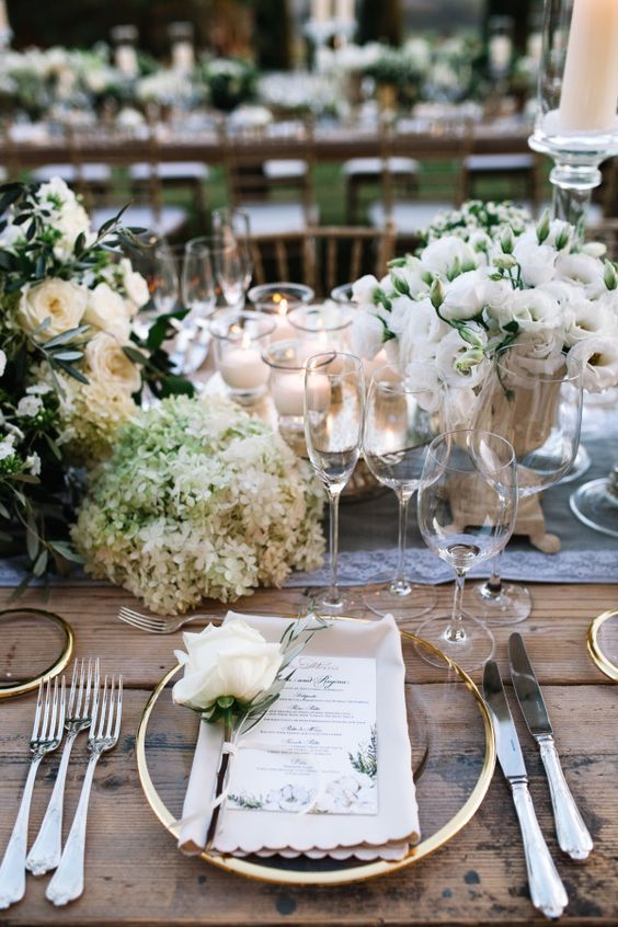 modern table setting for tuscan wedding